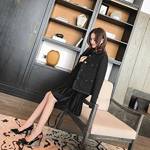 Peu Noir Profonde Fine Chaussures Hauts Sauvages Talons Pointue avec Une Bouche CWJ SqfFn