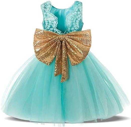 YyZCL Disfraz de niña Vestido de Novia de Princesa con Flores de ...