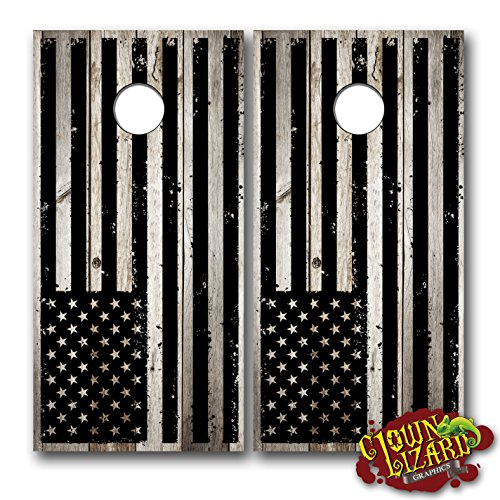 (CL0053 American Flag Distressed Black CORNHOLE LAMINATED DECAL WRAP SET Decals Board Boards Vinyl Sticker Stickers Bean Bag Game Wraps Vinyl Graphic Tint Image Corn)