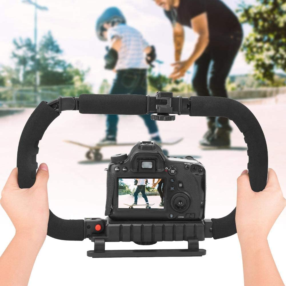 Professional Video Accessory for SLR Camera Cellphone DV Camcorder C Shaped Bracket Holder with 1//4 Cold Shoe Mount Foldable Handheld Stabilizer