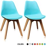 Krei Hejmo Plastic Dining Chair Side Chair with Wood Base - Set of Two (2) (Turquoise blue)