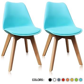 Amazoncom Krei Hejmo Plastic Dining Chair Side Chair with Wood