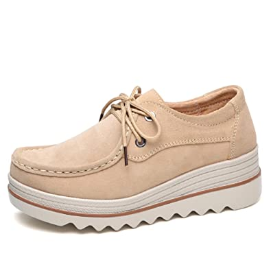 0655f471f54ea Amazon.com | LakeRom Women's Shoes for Platform Loafers Slip on ...