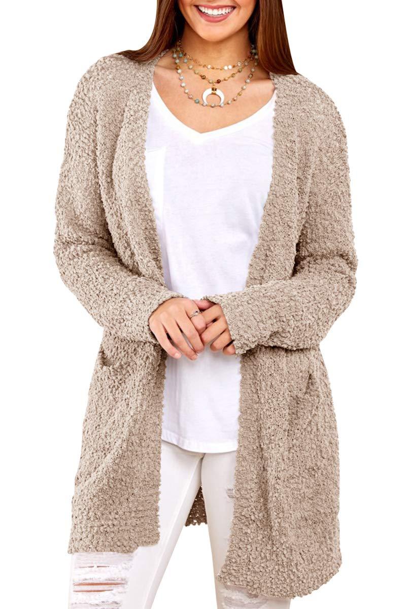 YOMISOY Womens Long Cardigans Open Front Sherpa Jackets Fleece Fuzzy Sweater Coat with Pocket