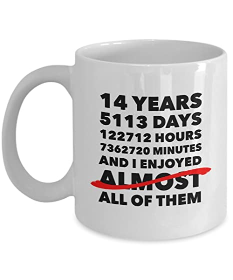 Funny 14th Anniversary Mug Ivory Wedding Day 14 Years Birthday Gift Idea For Him