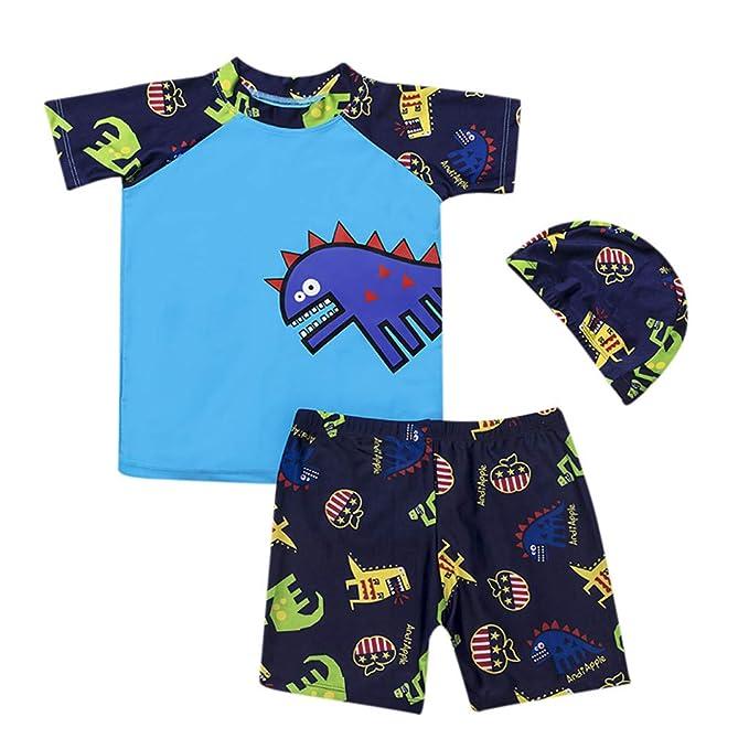 5c8010134e 3PCS Toddler Kids Boy Swimming Suit,Vovotrade Newborn Cartoon Dinosaur  Print Swimwear Short Sleeve Tops +Shorts+Hat Swimming Costume 2019:  Amazon.co.uk: ...