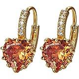 Sanwood® Ohrringe, Herzform, beschichtet mit Weißgold