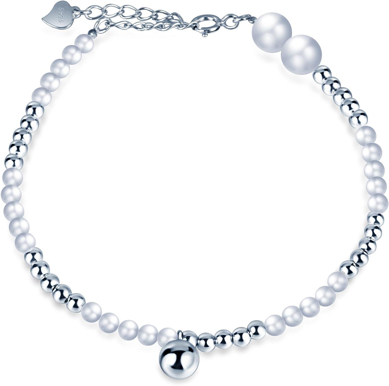 Infinite U - Pulsera de perlas de plata de ley 925 con cuentas simples ajustables, color plateado
