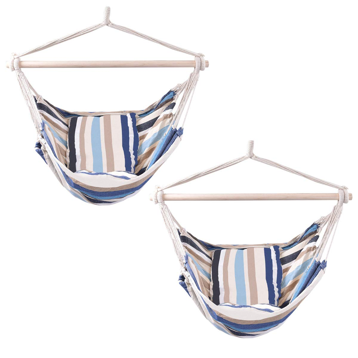 Giantex Hammock Swing, Hanging Rope Hammock Chair with 2 Cushions for Patio Porch Yard Tree C Hammock Stand, Cotton Hanging Air Swing 2, Beige and Blue Multicolor Stripes