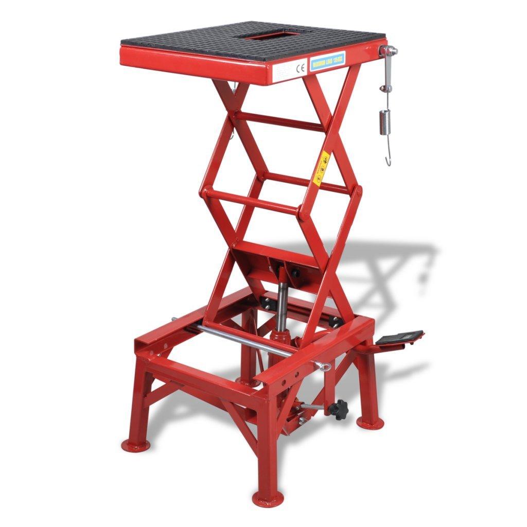 Festnight Table É lé vatrice en Acier Q235 pour Motos Rouge 135kg 35 x 41cm