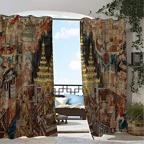 Linhomedecor Balcony Waterproof Curtains Thai Ancient Illustration of Mural Paintings Artwork in Buak Khrok Luang Chiangmai Thailand Multicolor pergola Grommet Printed Curtains 120 by 96 inch