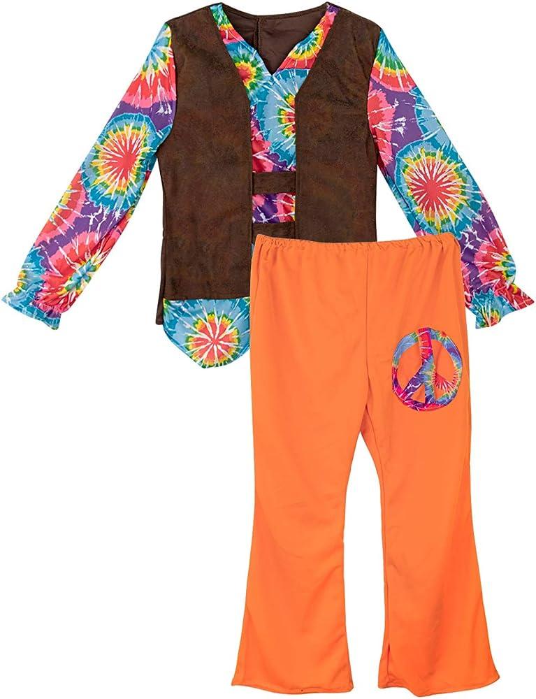 A&J DESIGN Disfraz Hippie Niño Traje Vintage Flower Power (Naranja ...