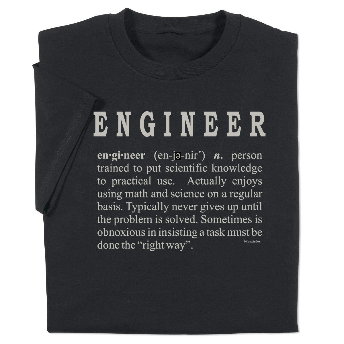 639fe64301 Amazon.com: ComputerGear Funny Engineering T Shirt Engineer Definition Geek  Nerd Adult Tee: Clothing