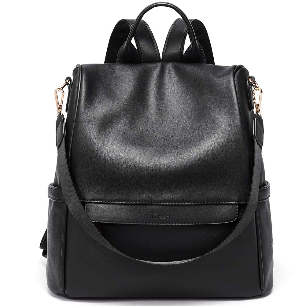 Women Backpack Purse Fashion Leather Large Travel Bag Ladies Shoulder Bags Black by CLUCI