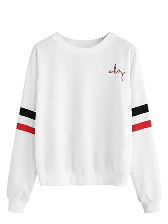 7a0e4bfb7b781b ROMWE Damen Baseball Langarm T-Shirt Locker Sportlich Sweatshirt (XS, Weiß#2