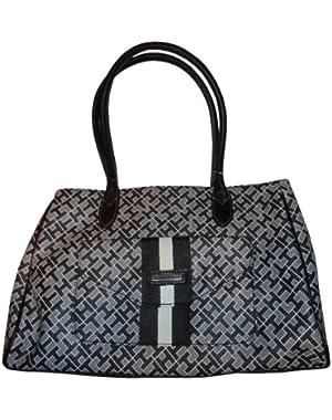 Women's Shopper Handbag, Medium, Gray Alpaca Black Trim