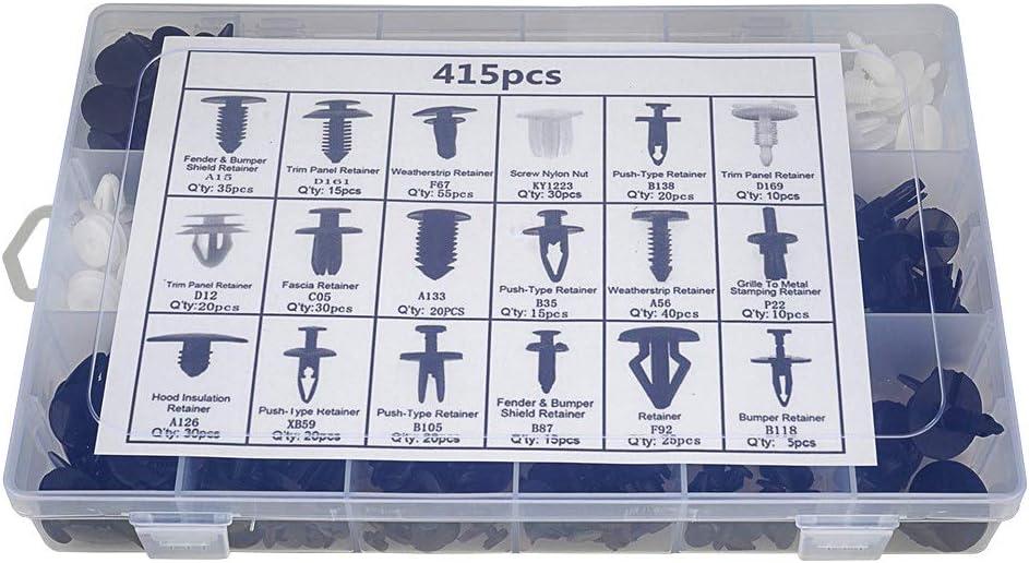 Auto Clips Car Vent Body Clips Retainer Push Kit 415Pcs Car Panel Trim Plastic Fasteners Rivet Kits