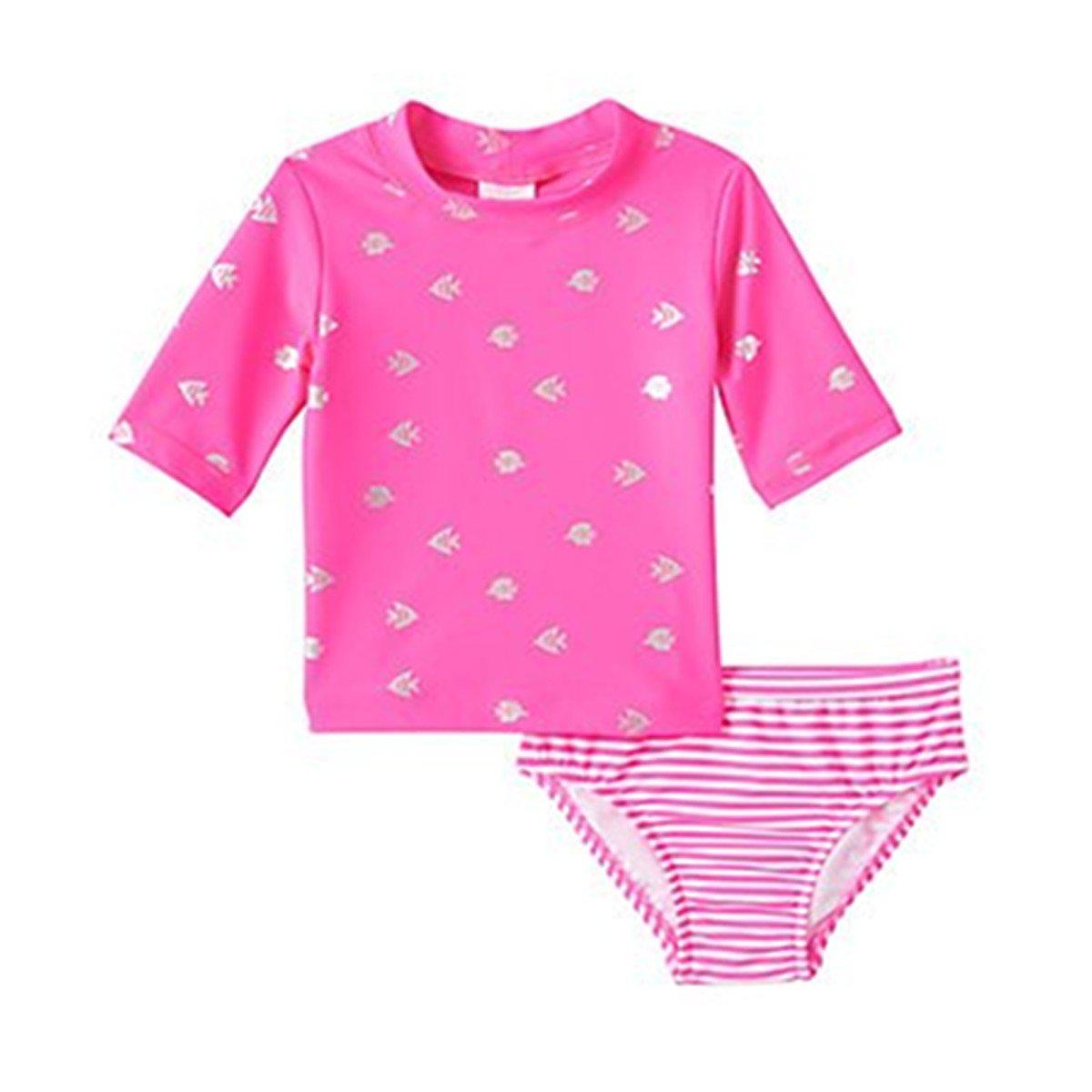 Carters Baby Girls Short Sleeve Pink Foil Fish Rash Guard Set (12M)