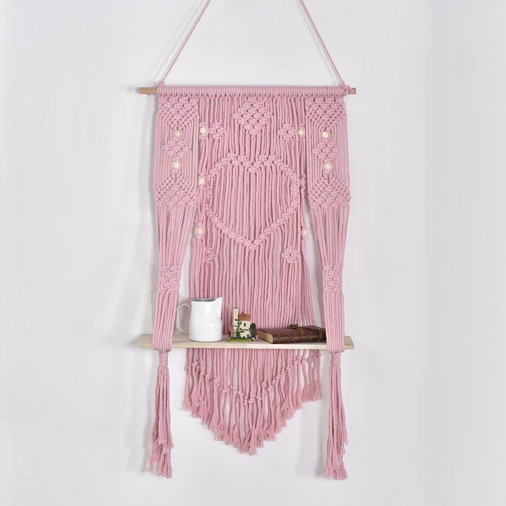 SHZONS Macrame Hanging Shelf, Handmade Wood Macrame Floating Hanging planter Wall Shelf Boho Chic Home Decor,59.06×78.74 in