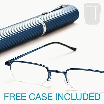 83099dc826a3 Blue Semi-Rimless READING GLASSES & Tube Case +2.50: Amazon.co.uk: Sports &  Outdoors