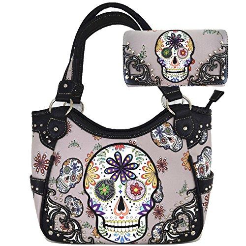 Women Leather Punk Skull Rivet Shoulder Bag Handbag - 9