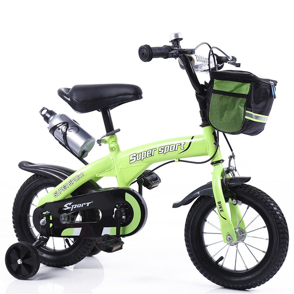 子供の自転車12|14|16|18インチ屋外の子供赤ちゃんキッドマウンテンバイク黒のトレーニングホイールで3-9歳の男の子の女の子のギフト|布バスケット|ウォーターボトルセーフ B078GQ1JZY 12インチ|緑 緑 12インチ