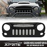 Xprite Front Matte Black Shark Nose Ghost Grille Grid Grill W/ Mesh Insert for Jeep Wrangler Rubicon Sahara Sport JK JKU 2007-2017