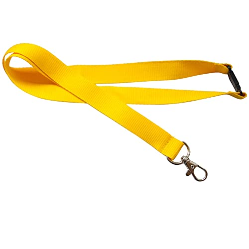 Kestronics® Yellow 20mm Lanyard with Safety Break away and Metal clip