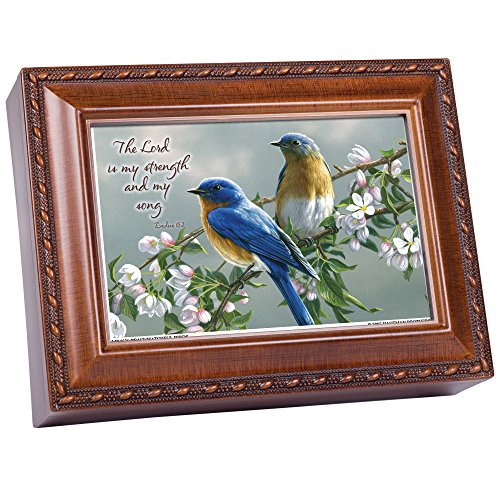 Cottage Garden Watchful Birds Woodgrain Inspirational Traditional Music Box Plays Amazing Grace