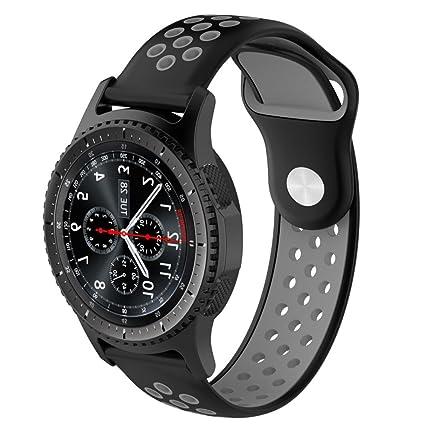 Malloom Impermeable Ligero ventilar Silicona Pulsera Correa de muñeca para Samsung Gear S3 Frontier Smartwatch (F)