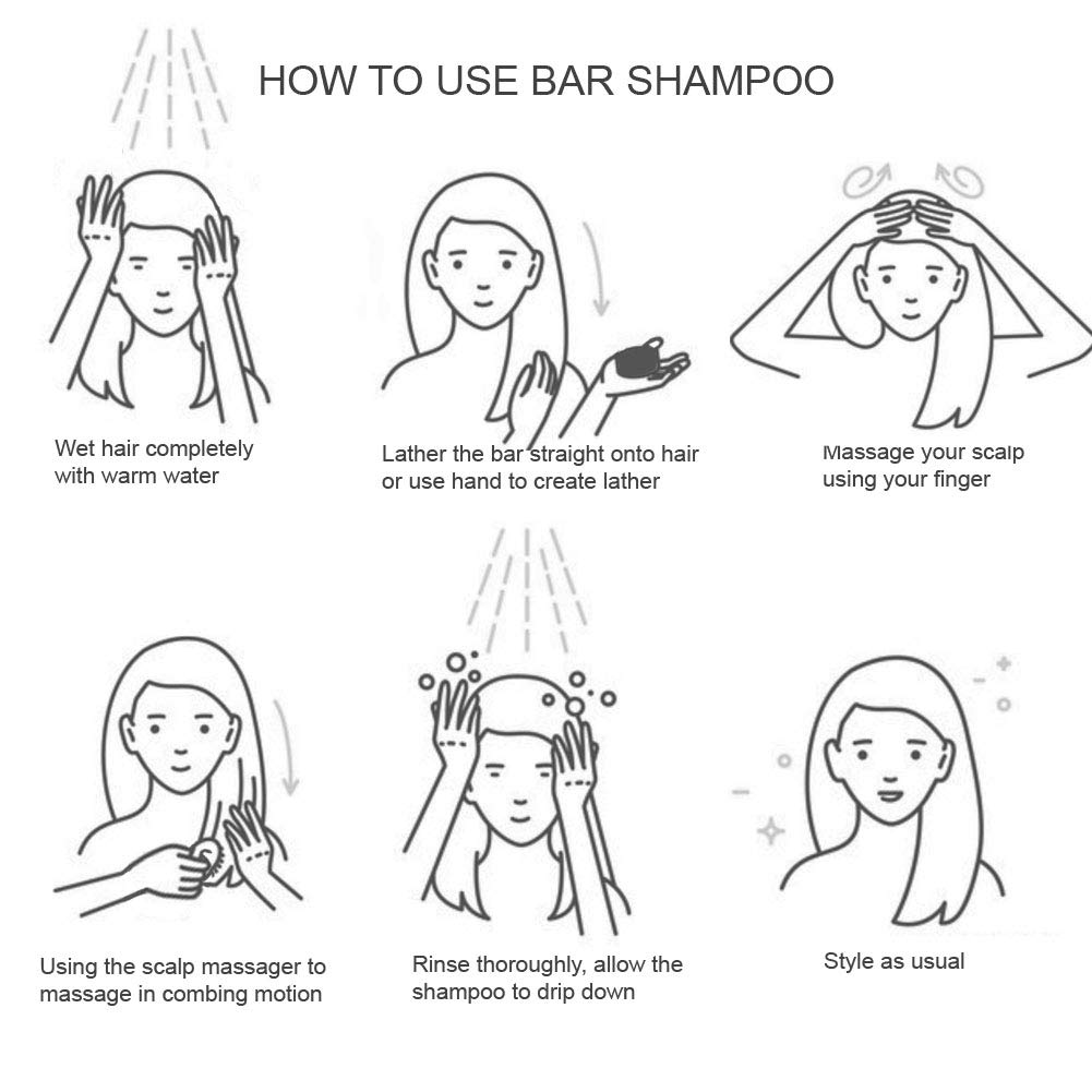 JonkaBeauty Organic Solid Shampoo Bar and Scalp Massager Gift Set l All Natural Soap Shampoo Bar for Hair with Shampoo Brush l Oil Control Anti Dandruff Handmade Bar Shampoo for Hair Scalp