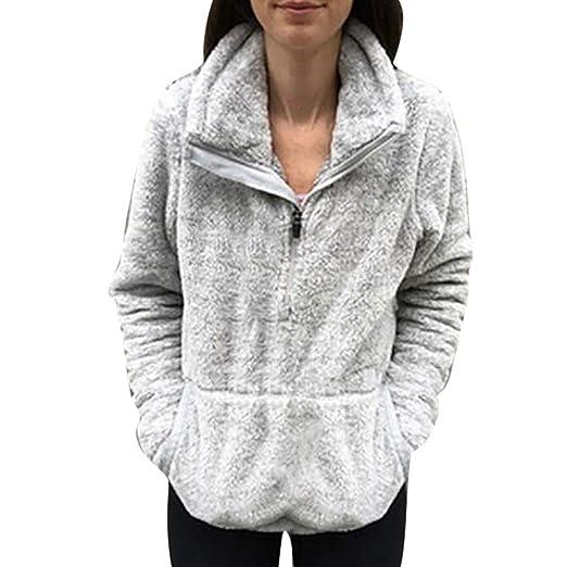 GzxtLTX Women Sweater Solid Color Fuzzy Faux Fur Fluffy Sherpa ... bf2ddbf683