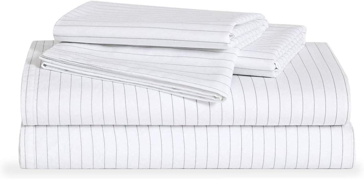 Brooklinen Luxe Core Sheet Set – Includes 1 Flat Sheet, 1 Fitted Sheet + 2 Pillowcases – 480 Thread Count Sateen Sheet Set – 100 Percent Long-Staple Cotton – Oeko-TEX Certified – Smoke Stripe – Queen