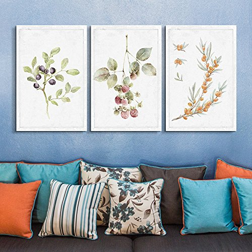 3 Panel Hand Drawn Berries on Branches Artwork x 3 Panels