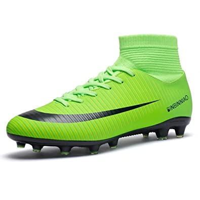 9d5da232d Amazon.com | High-top Soccer Shoes Men and Women Cleats Sports Shoes Adult  Tf Broken Nail Training Shoes, 2019 Football Cleats Sneaker Shoes  Fluorescent ...
