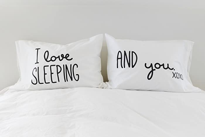 Funny Pillowcases Couples Pillow Cases I Love Sleeping I Love You Pillowcase  Set 300TC Gift for