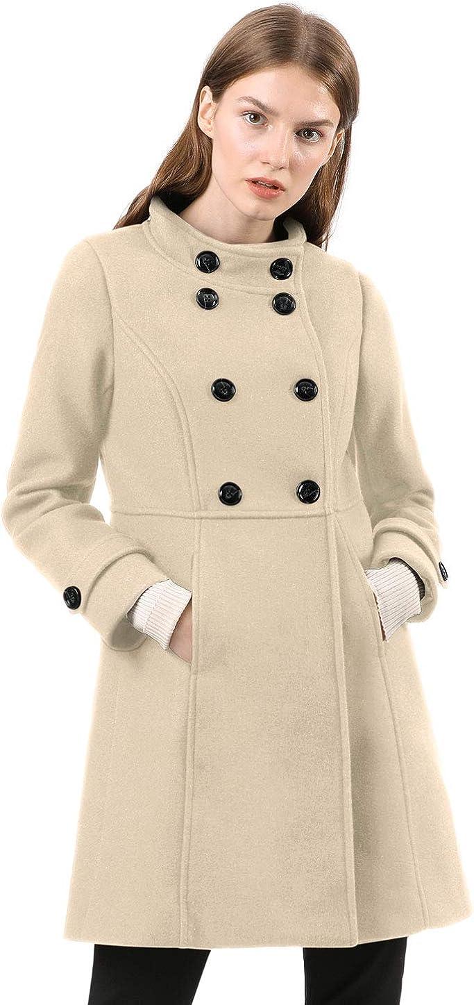 Allegra K Women's Stand Collar Double Breasted Slant Pockets Trendy Outwear Winter Coat