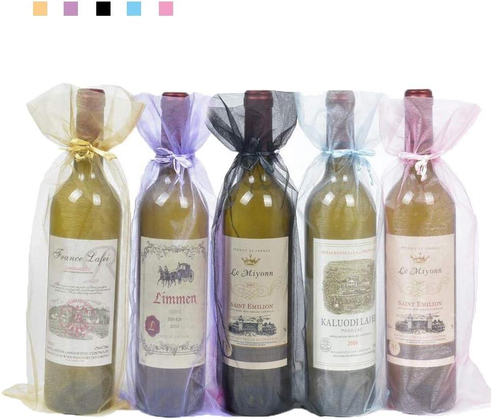 Bolsas para Botellas de Vino de Organza,20 Pack Bolsas de Vino de Organza Bolsas de Regalo de Botella de Vino con Cordón para Favores Fiesta Decoración de Boda de Navidad 5 Colores 15*38CM