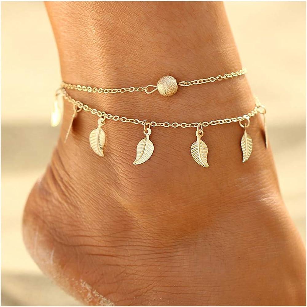 Silver Gold Ankle Bracelets for Women Girls Heart Beaded Anklet Beach Foot Jewelry