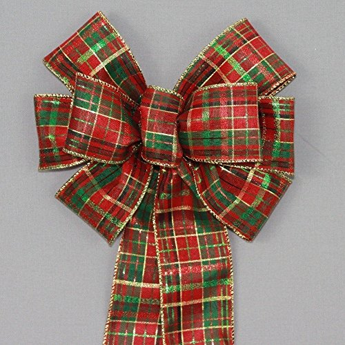 Red Green Metallic Plaid Christmas Wreath Bow - available in 2 (Red Metallic Holiday Wreaths)