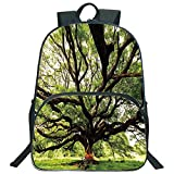Nature 3D Print 16' Backpacks,The Largest Monkey Pod Tree in Thailand Eastern Green Big Branches Growth Eco Photo,3th 4th 5th Grade School Bookbags Travel Laptop Daypack Bag Purse,for Kids Teens,Green