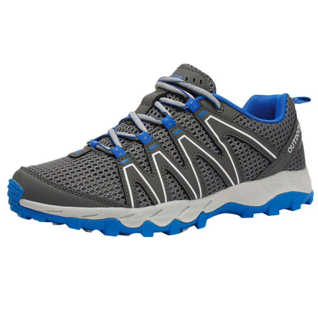 Hiking Sneakers Men,Mosunx Athletic 【Mesh Breathable Non-Slip】Lightweight Lace Up Outdoor Trail Walking Shoes Climbing Shoes (10 M US, Gray)