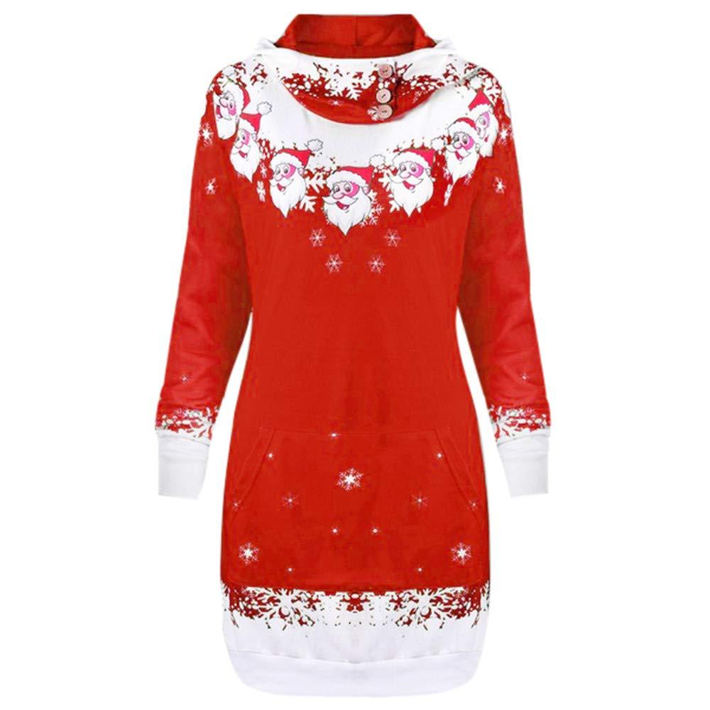 FEDULK Christmas Hoodies Santa Claus Print Snowflake Women Ugly Sweater Sweatshirt with Pockets(Red,US Size L = Tag XL)