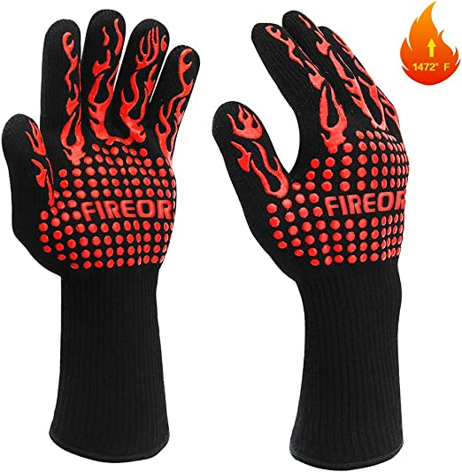 Cutting Baking MILcea BBQ Grill Gloves 1472/°F Extreme Heat Resistant Non-Slip Oven Gloves with Cut Resistant Welding Durable Fireproof Kitchen Oven Mitts Universal Size for Barbecue Frying