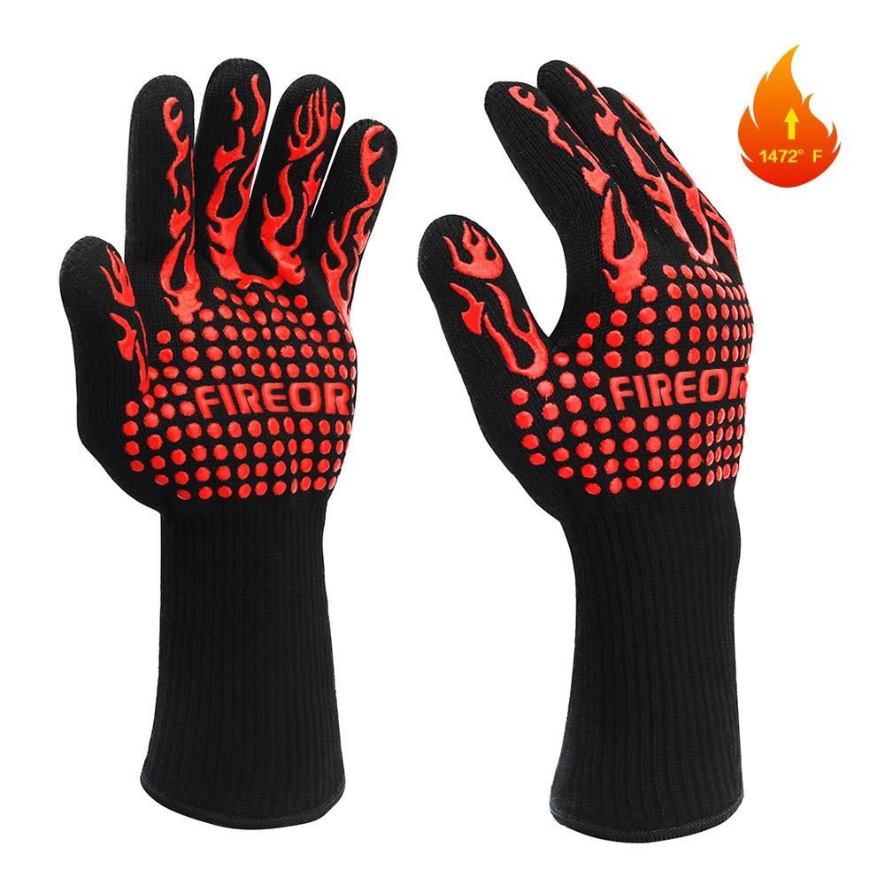 FIREOR BBQ Grill Gloves, 1472°F Extreme Heat Resistant Grilling Gloves Non-Slip Oven Mitts Potholder, Perfect for Barbecue, Cooking, Baking, Fireplace, Smoker - 1 Pair by FIREOR
