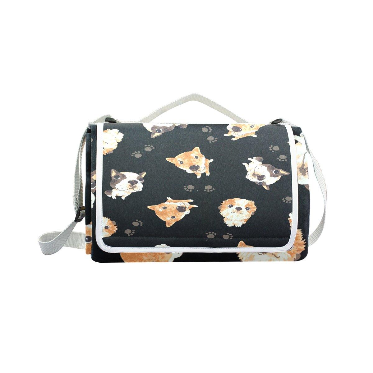 My Little Nest Outdoor Camping Picnic Beach Blanket Mat Cute Dog Lightweight Portable Folding Travel Pad 57'' x 59''