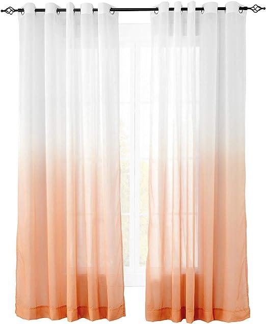 ChadMade - Cortina de color degradado de claro a oscuro, ojales de níquel, pliegues graduales de tul