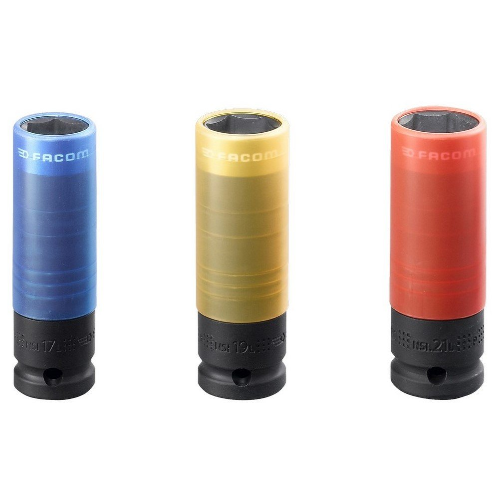 Azul//Amarillo//Rojo Facom NSI.3L Estuche de vasos largos de impacto reforzado 1//2