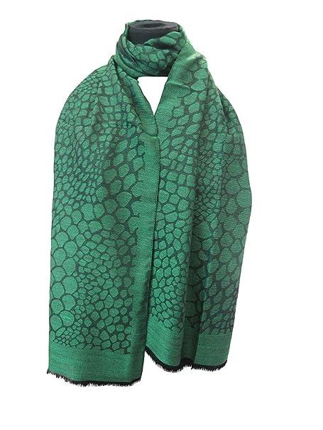 informazioni per f4c70 e93fd stola lana-seta jacquard disegno pietre trama nera verde ...