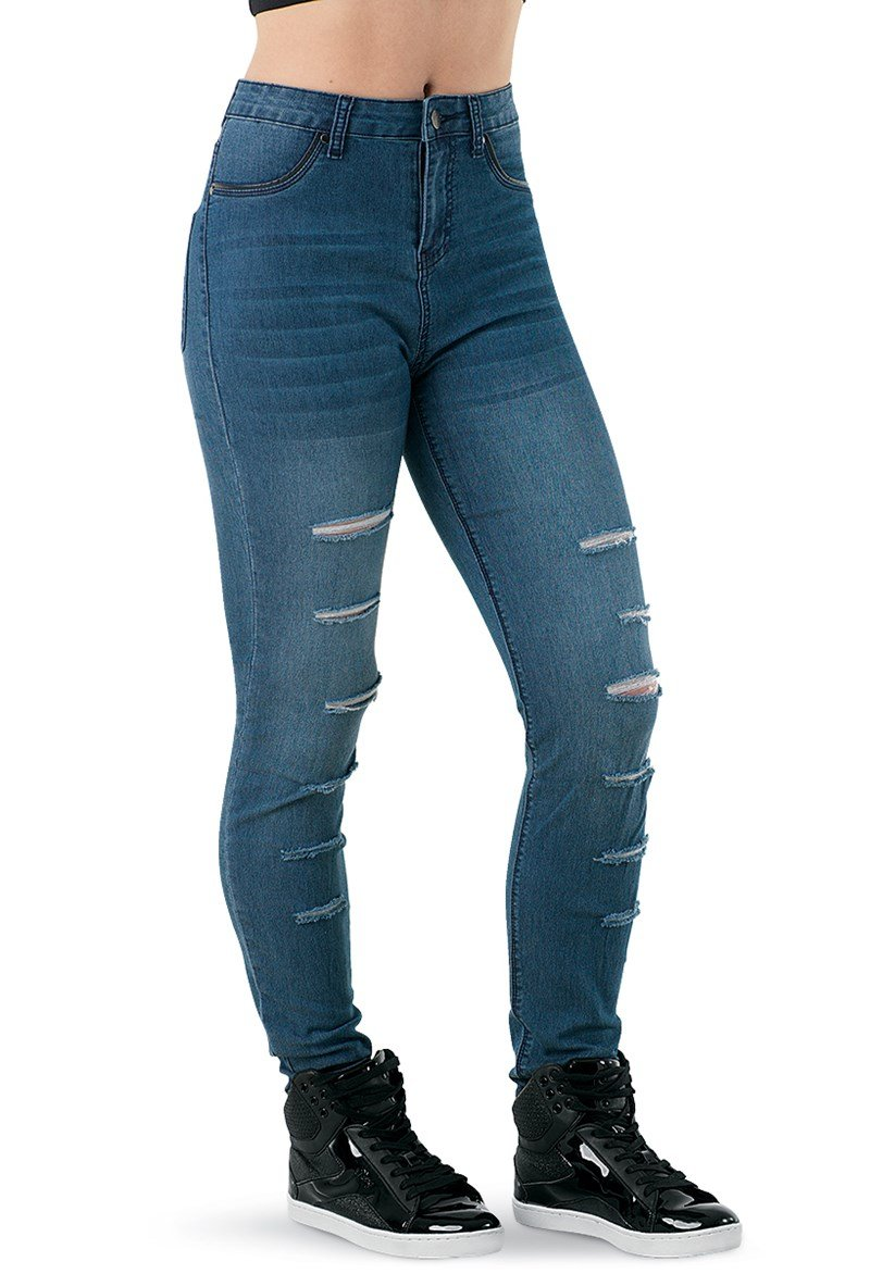 Balera Urban Groove Skinny Slashed Dance Jeggings Denim Adult Small by Balera